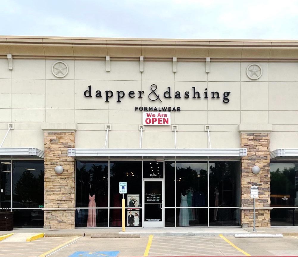 Dapper & Dashing storefront in our Fry Road Katy location