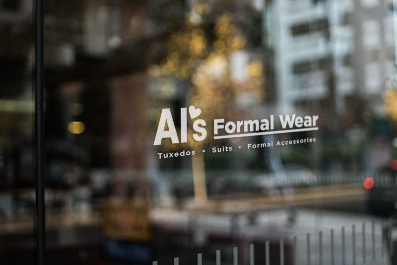 Al's Formal Wear store front close up in our Conroe location