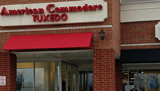 American Commodore Tuxedo storefront in our Uptown Solon Shopping Center location
