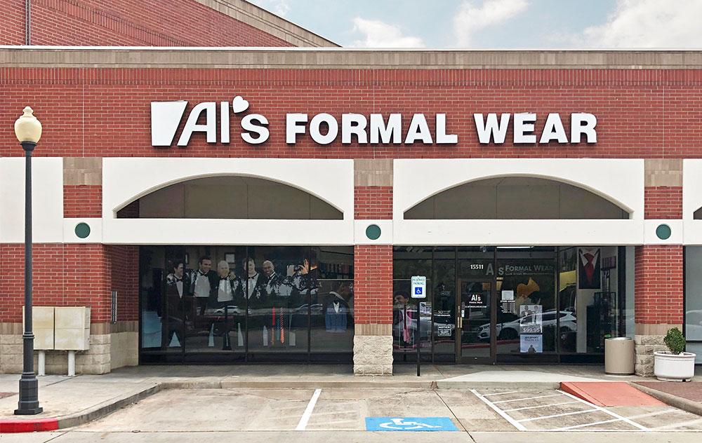 Storefront of Al's Formal wear in Sugar Land Texas