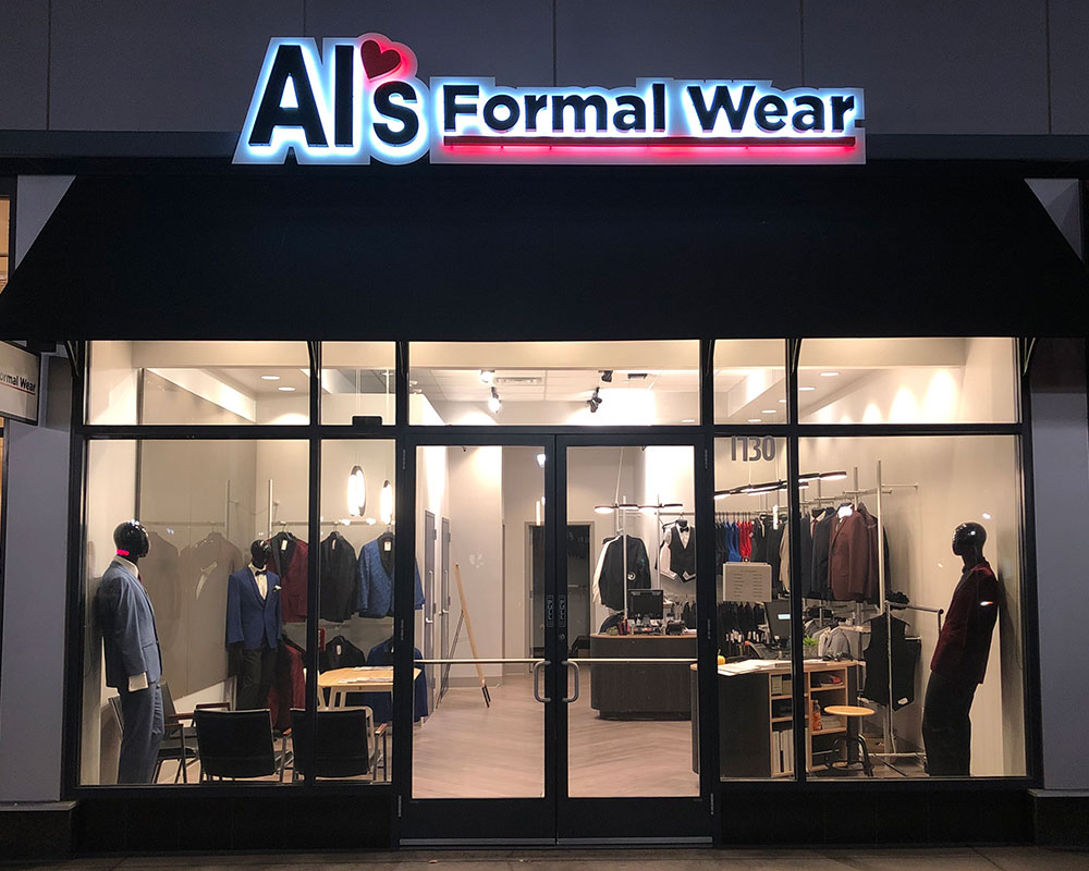 Store front of Al's Formal wear store at Northfield in Colorado