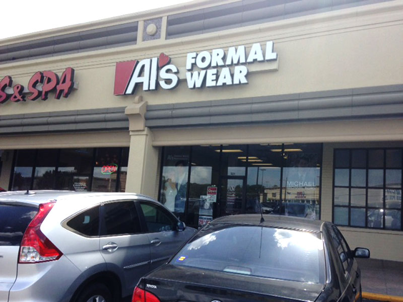 Al's Formal Wear storefront in our West University location