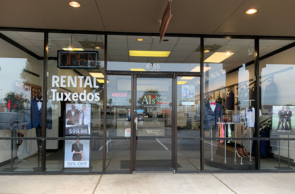 Al's Formal Wear storefront in our Moore Plaza location