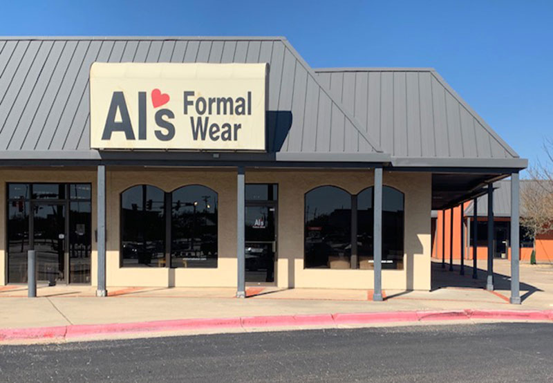 Al's Formal Wear storefront in our Amarillo, Texas location