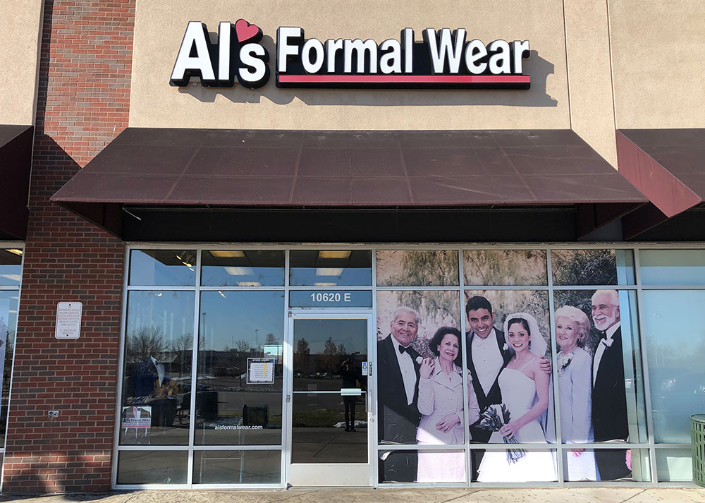 Al's Formal Wear store front at Market Place in Colorado