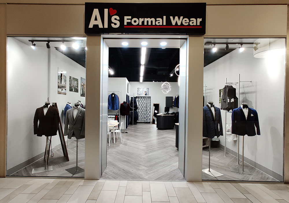Store front of Al's Formal Wear store in Fort Collins Colorado