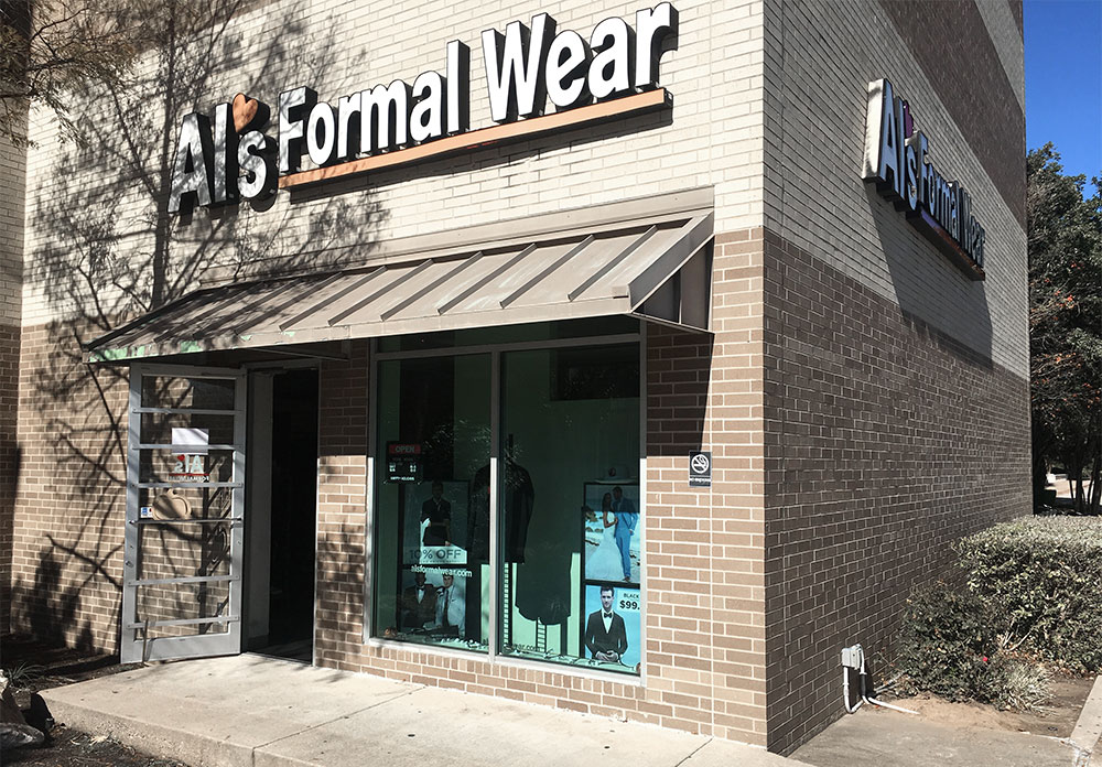 Al's Formal Wear storefront in our Lakeline Mall location
