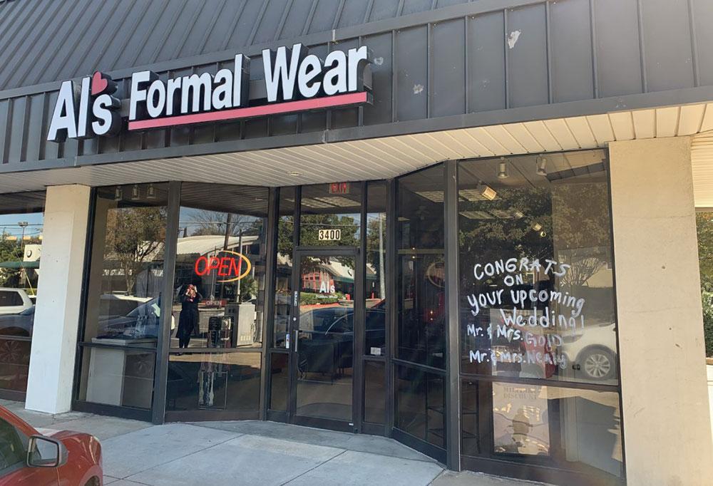 Al's Formal Wear storefront in our Oak Lawn location