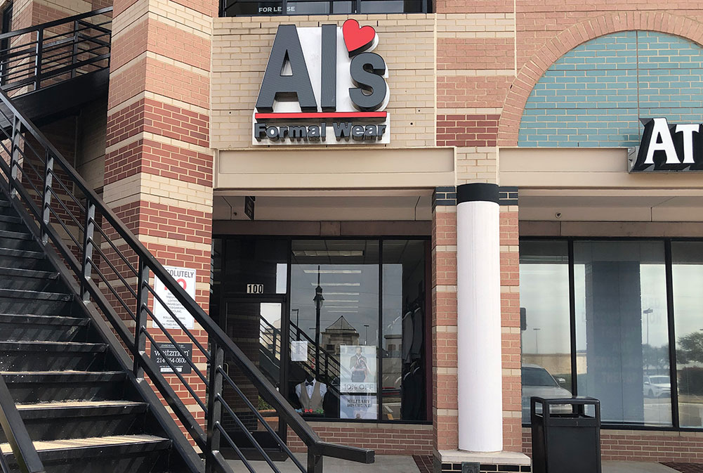 Al's Formal Wear storefront in our Irving Towne Center location