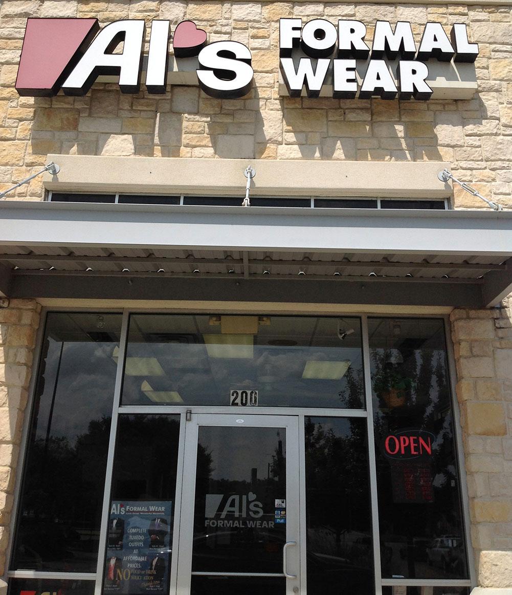 Al's Formal Wear storefront in our Hulen location