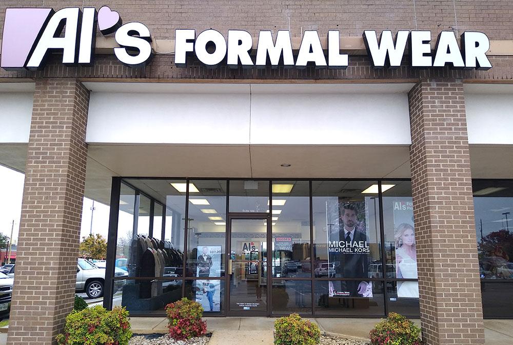 Al's Formal Wear storefront in our Longview location