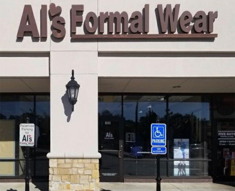 Al's Formal Wear store front in our Baton Rouge location