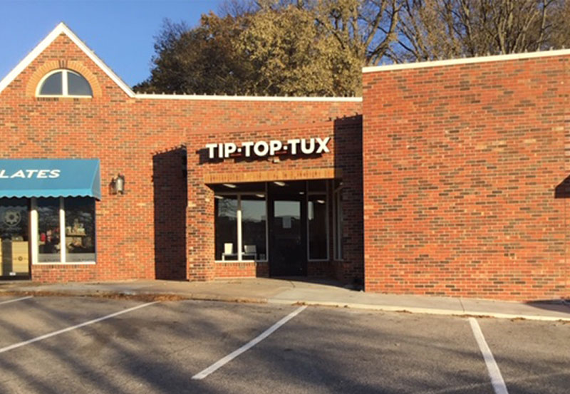Tip Top Tux storefront in our Clock Tower location