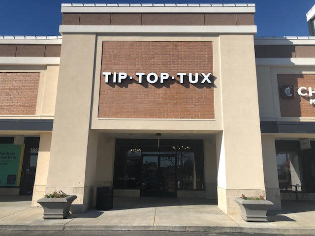 Tip Top Tux store front in our Hawthorne Plaza location